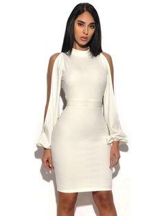 bf4b1da143224 Valentina White Cut Out Sleeve Stretch Crepe Dress. Cheap Dresses  OnlineBandage ...