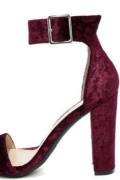 Chic Wine Heels - Burgundy Velvet Heels - Block Heels - Ankle Strap Heels - $26.00