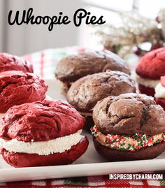 Chocolate Whoopie Pies with Peanut Frosting + Red Velvet Whoopie Pie with Cream Cheese Frosting Red Velvet Whoopie Pies, Chocolate Whoopie Pies, Funnel Cakes, Just Desserts, Delicious Desserts, Yummy Food, Summer Desserts, Yummy Treats, Sweet Treats