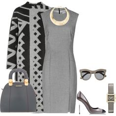 A fashion look from August 2014 featuring grey dresses, Burberry and gray shoes. Browse and shop related looks. Office Fashion, Work Fashion, Fashion Sets, Gown Suit, Grey Outfit, Poses, Classy Outfits, Dress To Impress, Work Wear