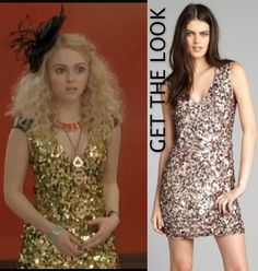 The Carrie Diaries episode 11: Carrie Bradshaw's (AnnaSophia Robb) Krizia green-gold sequin paillette dress #getthelook #thecarriediaries