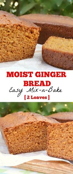 Mix-n-Bake recipe for 2 Ginger Bread loaves as 1 is simply not. Mix-n-Bake recipe for 2 Ginger Bread loaves as 1 is simply not enough ! Moist soft and divine ! Fall Baking, Holiday Baking, Christmas Baking, Christmas Bread, Muffins Blueberry, Zucchini Muffins, Healthy Muffins, Baking Recipes, Cake Recipes