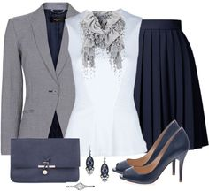 love the constructed jacket w/ girlie outfit & shades of white, black & grey Business Outfits, Business Fashion, Dressy Outfits, Stylish Outfits, Work Fashion, Fashion Outfits, Womens Fashion, Barbie Wardrobe, Professional Outfits