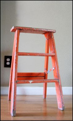 v i n t a g e orange step ladder by foxandforage on Etsy https://www.etsy.com/listing/73611209/v-i-n-t-a-g-e-orange-step-ladder