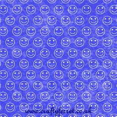 Free to download and print blue smiley face repeat pattern craft backing paper from Crafty Ferret