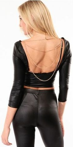 Leather Chain Detailed Open Back Top(night life)