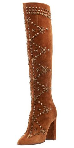 6f774318f5c Saint Laurent Ella Studded Suede Knee Boot. #saintlaurent #shoes #boots