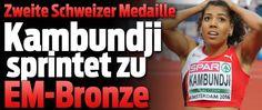 2 Stunden nach Kariem Husseins 3.Rang über 400m Hürden sprintet die 24-jährige Bernerin Mujinga Kambundji in 11,25 über 100m zu EM-Bronze !! 8-Juli-2016