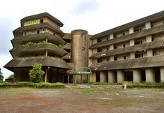 Abandoned Hotel in the Azores, Portugal.–The Monte Palace is situated right on top of the mountain overlooking the twin lakes of Sete Citades on St. Miguel island. Directions on this site.