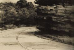 Road and Rocks: 1962 by Edward Hopper (Whitney Museum, NYC) - American Realism (Viewed as part of the Exhibit - Hopper Drawings at the Whitney Edward Hopper, American Realism, American Art, Pumpkin Drawing, Ashcan School, Rivers And Roads, Tumblr Drawings, Whitney Museum, Urban Life