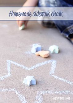 Homemade sidewalk chalk in all different shapes and colors! Fun summer activity for kids!