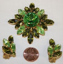 Vintage Rhinestone Prong Set Green Brooch & Earrings Unsigned 3 shades of Green