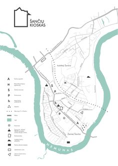 Stylized map for Šančiai district in Kaunas, Lithuania. Designed for city visitors, workshops and creative iniciatives for better navigation. Brochure Design, Branding Design, Kaunas Lithuania, Navigation Design, Planer Layout, Urban Design Diagram, Architecture Graphics, Information Design, Map Design