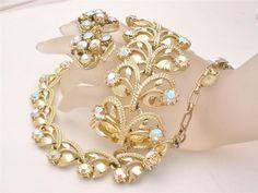 Vintage Aurora Borealis Rhinestone Necklace Earrings Bracelet 3 pc Parure Set AB #TheJewelryLadysStore
