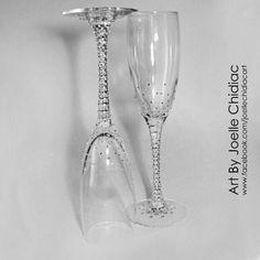 #handmade #champagne #glasses #wedding #weddinglasses #engagement #bride #bridesmaid #brideandgroom #cristal #swarovski #silver #stones #art #crafts #design