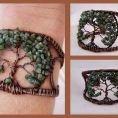 Tree of life cuff bracelet Tree Of Life Bracelet, Tree Of Life Jewelry, Wire Jewelry, Beaded Jewelry, Handmade Jewelry, Jewlery, Wire Crafts, Jewelry Crafts, Do It Yourself Jewelry