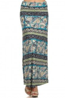 PLUS SIZE PAISLEY BORDER PRINT SELF BANDED MAXI SKIRT