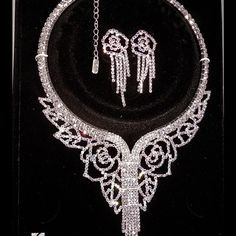 """Prom or Wedding Necklace Set AB/Silver. Rhinestone Encrusted. Rose design Necklace Set. Absolutely Stunning!!!  Lobster clasp, 3"""" extender Jewelry Necklaces"""