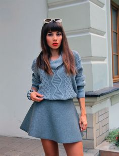 Grey total look - combination of woolen grey cable knit sweater and grey neoprene skirt, check my new all grey outfit: https://jointyicroissanty.blogspot.com/2016/10/all-grey.html