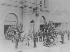 Maryborough, Queensland, Australia in 1895 -photo of Maryborough fire station, with fire appliances out front. Adelaide Street, Switzerland Tourism, Brisbane City, Melbourne, The Golden Years, Newcastle Nsw, Fire Engine, Old Houses, Old Photos