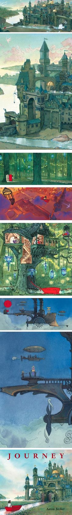"The debut children's book ""Journey"", by illustrator Aaron Becker http://www.storybreathing.com/journey/ In this wordless story, a young girl escapes the confines of her home life to a magical world of imagination, in which she can determine her destiny."
