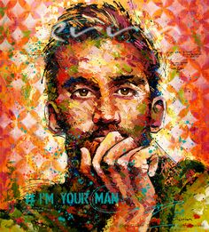 #I'M YOUR MAN  Acrylic & Spray Paint on Canvas  180cm x 200cm Under the strong masculine exterior, lies a vulnerability revealing a man deeply in love, willing to do whatever necessary for the target of his affection. This piece was inspired by the profound lyrics of Leonard Cohen, one of my favorite musicians. For exhibit in Europe, July 2015. Reserves accepted by email info@TerrinArt.com