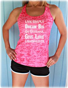 Burnout Workout Tank Top. Live Simply. Dream Big. Womens Running Tank Top. Workout Inspiration. Fitness Tank Top.