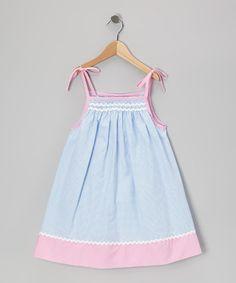 Look at this #zulilyfind! Blue & Pink Gingham Rickrack Swing Dress - Infant & Toddler #zulilyfinds