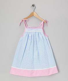 Take a look at this Blue & Pink Gingham Rickrack Swing Dress - Infant & Toddler by Petit Pomme on #zulily today!