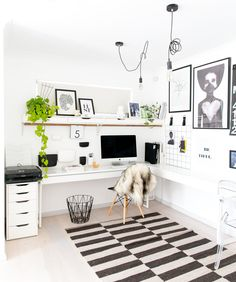 Scandinavian Home Office Design Ideas For Small Space - Home Office Space, Home Office Design, Home Office Decor, Office Ideas, Office Table, Ikea Office, Office Setup, Office Organization, Workspace Inspiration