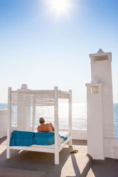 A sun bed by the beach at Don Ferrante in Puglia, Italy