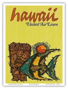 Hawaii-Tiki-Fish-Aloha-Waikiki-Vintage-Airline-Travel-Art-Poster-Print