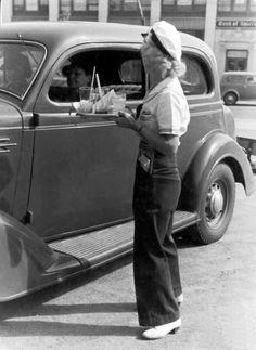 Car hop at a drive-in restaurant, Los Angeles, 1936