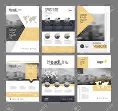 Illustration of Modern Brochure design template vector set. 6 Annual report layout with photo place. Company Brochure Design, Graphic Design Brochure, Brochure Design Inspiration, Brochure Layout, Magazine Design, Graphic Design Magazine, Page Design, Layout Design, Report Design Template