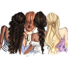 Drawing of girls friends bff 38 Ideas Girly M, Best Friend Drawings, Girly Drawings, Best Friend Sketches, Watercolor Fashion, Friend Pictures, Friend Pics, Friends Forever, Fashion Sketches