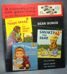 Vintage 45 RPM Bear Songs Little Golden Records - Me and My Teddy Bear