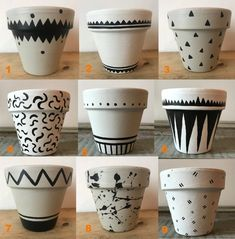 Small hand painted geometric pattern plant pots Painted
