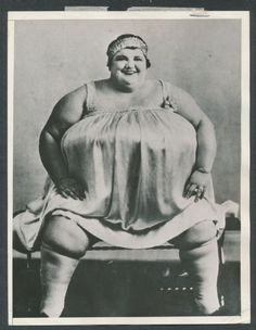 1938 photo of 700 pound circus Fat Lady Doris Bleu.