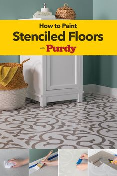 Transform your laundry room, living room, kitchen or patio with an eye-catching look of patterned tile. Make it perfect with the right paint tools from Purdy® and our helpful step-by-step guide. Painting Tile Floors, Painted Floors, Home Renovation, Home Remodeling, Stenciled Floor, Floor Stencil, Diy Home Repair, Diy Flooring, Home Repairs