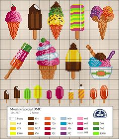 El blog de Dmc: Diagramas veraniegos de punto de cruz. Cross stitch ice creams and ice lollies