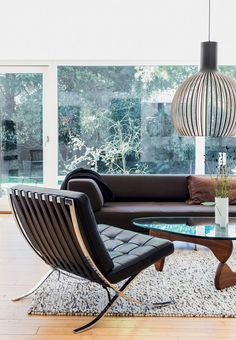 Barcelona-chairs of chrome and black leather   |  AN ARCHITECT-DESIGNED HOUSE FROM THE 50S NORTH OF COPENHAGEN