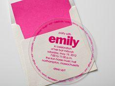 Pink, circle Bat Mitzvah plastic invitation
