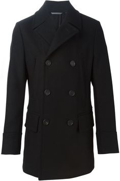 $763, Hugo Boss Boss Double Breasted Coat. Sold by farfetch.com. Click for more info: https://lookastic.com/men/shop_items/336729/redirect