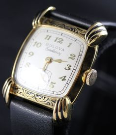 1951 Bulova His Excellency 21 Jewels Men's Engraved Enamel Watch from vintagewatches on Ruby Lane