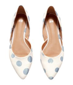 White crêpe flats with blue dot print, pointed toes, and wrap-style side panels. | H&M Shoes