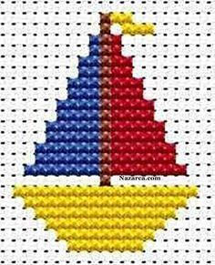 Íme néhány - kevés munka- és időráfordítást igénylő - keresztszemes hímzésminta, amelyekkel a gyerekek ruhái feldobhatók, egyedivé és nem. Baby Boy Knitting Patterns, Baby Cross Stitch Patterns, Cross Stitch Borders, Cross Stitch Baby, Simple Cross Stitch, Knitting Charts, Cross Stitch Designs, Cross Stitching, Cross Stitch Embroidery