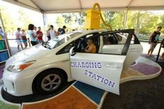 The Toyota Prius activation in Chicago's Grant Park for Lollapalooza this year offered a model car that doubled as a charging station. Inside the vehicle as many as five festival-goers could recharge their gadgets.