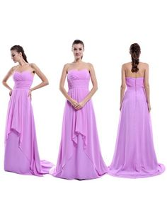 Fashionable Sweep Train Chiffon with Ruffles Sweetheart Lilac Bridesmaid Dress…