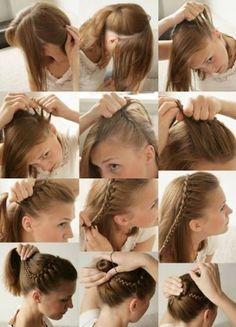 Trenza con chongo. Otras ideas paso a paso en...  http://www.1001consejos.com/peinados-sencillos-paso-paso/