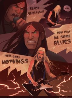 quhzk:  My fanart of sunburned and depressed Dethklok playingMurdertrain a comin'. This song rocks, but what I really love about it, is how Skwisgaar comments on his solo. XD